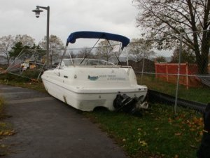A boat left high and dry by Superstorm Sandy